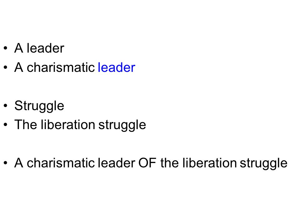 A leader A charismatic leader. Struggle. The liberation struggle.