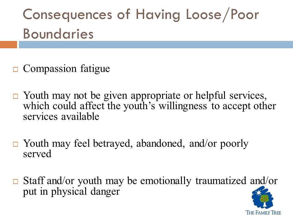 Consequences of Having Loose/Poor Boundaries