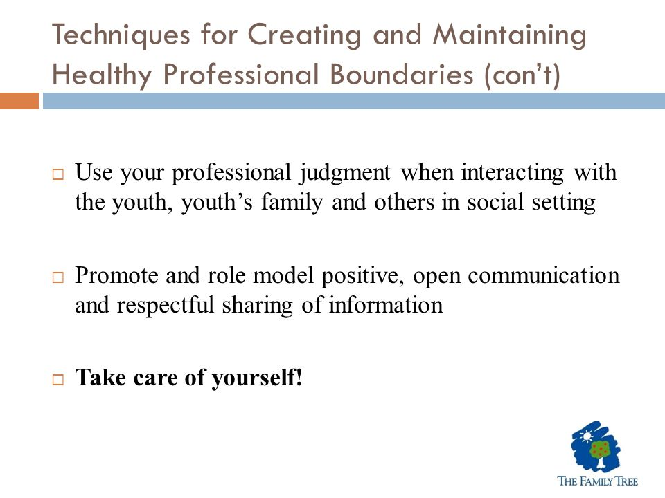 Techniques for Creating and Maintaining Healthy Professional Boundaries (con't)