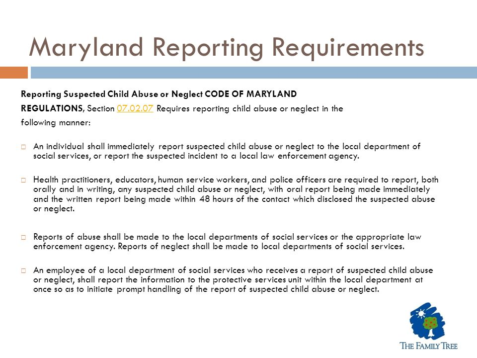 Maryland Reporting Requirements