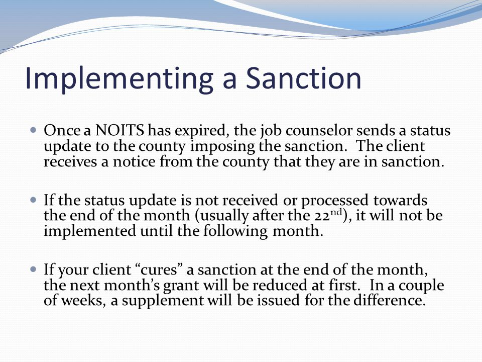 Implementing a Sanction