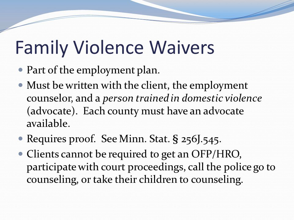Family Violence Waivers