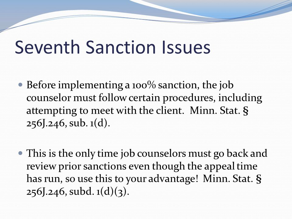 Seventh Sanction Issues