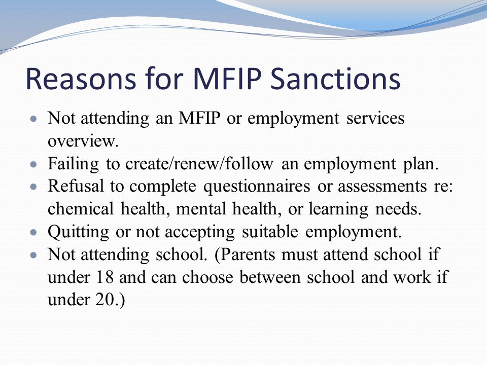 Reasons for MFIP Sanctions