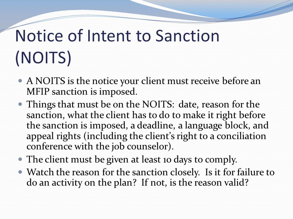 Notice of Intent to Sanction (NOITS)