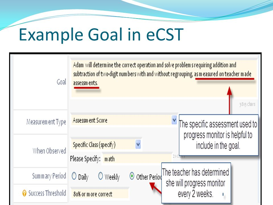 Example Goal in eCST