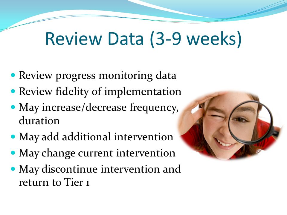 Review Data (3-9 weeks) Review progress monitoring data