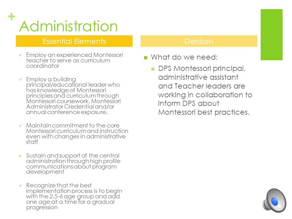 Administration Essential Elements Denison What do we need:
