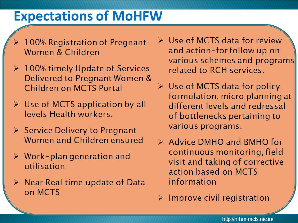 Expectations of MoHFW Use of MCTS data for review and action-for follow up on various schemes and programs related to RCH services.