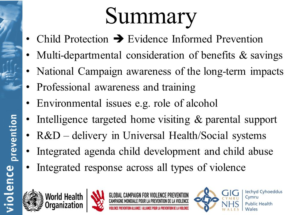 Summary Child Protection  Evidence Informed Prevention