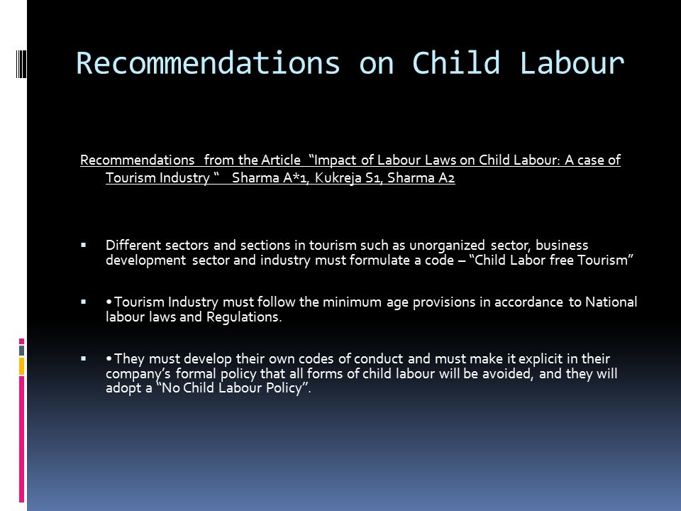 Recommendations on Child Labour