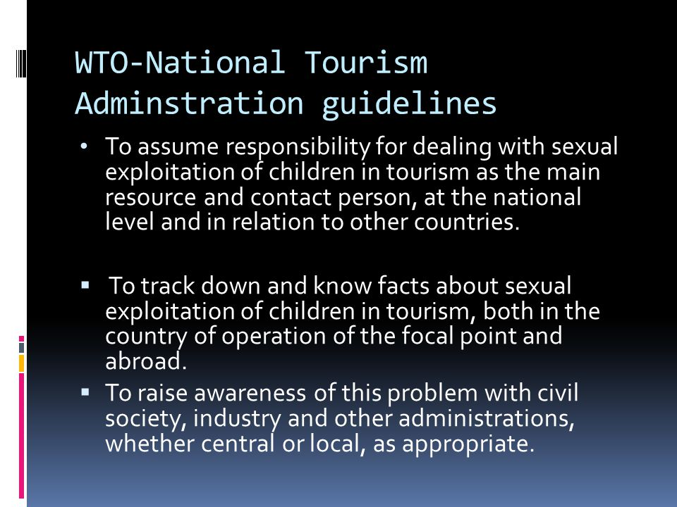 WTO-National Tourism Adminstration guidelines