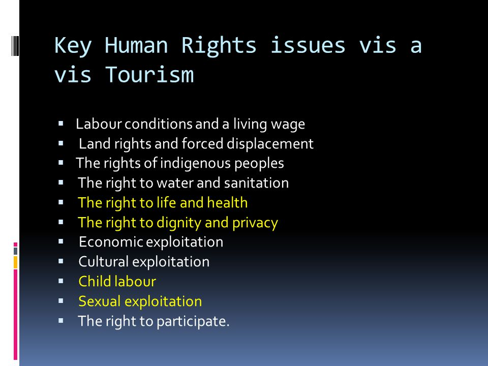 Key Human Rights issues vis a vis Tourism