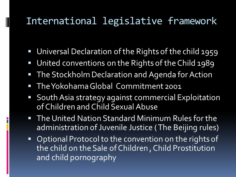 International legislative framework