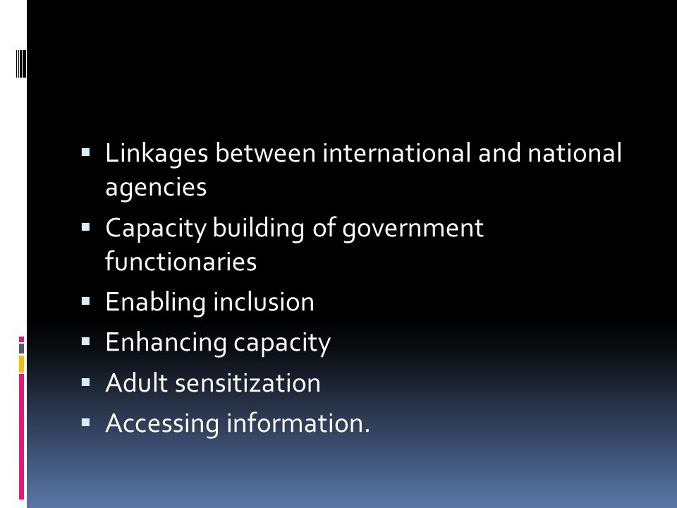 Linkages between international and national agencies