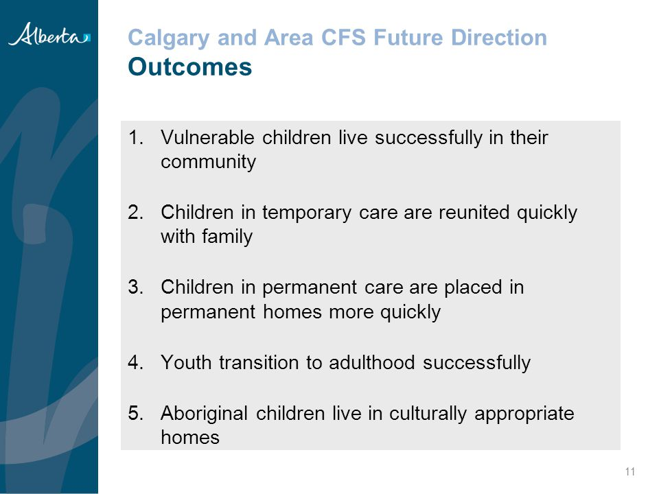 Calgary and Area CFS Future Direction Outcomes
