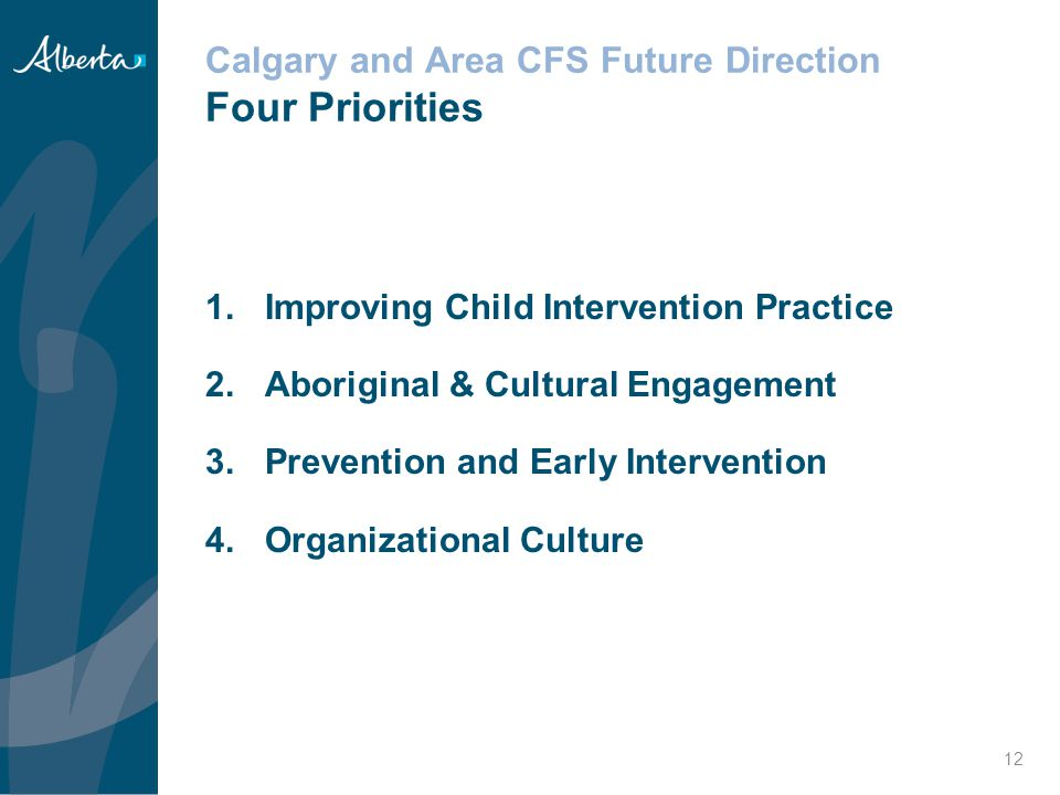 Calgary and Area CFS Future Direction Four Priorities
