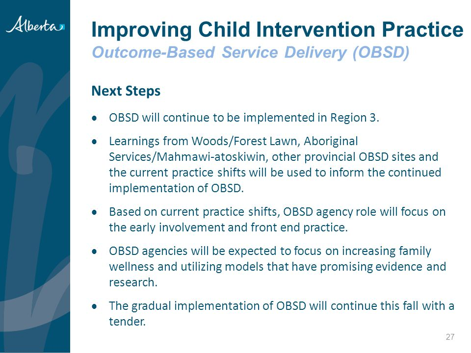 Improving Child Intervention Practice Outcome-Based Service Delivery (OBSD)