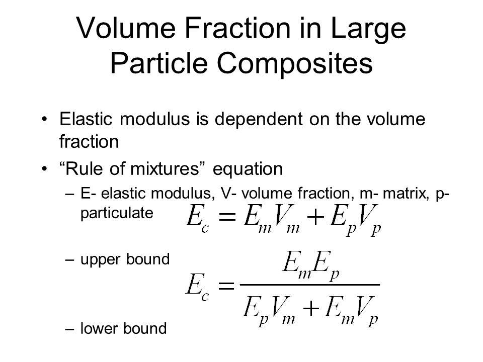 Volume Fraction in Large Particle Composites