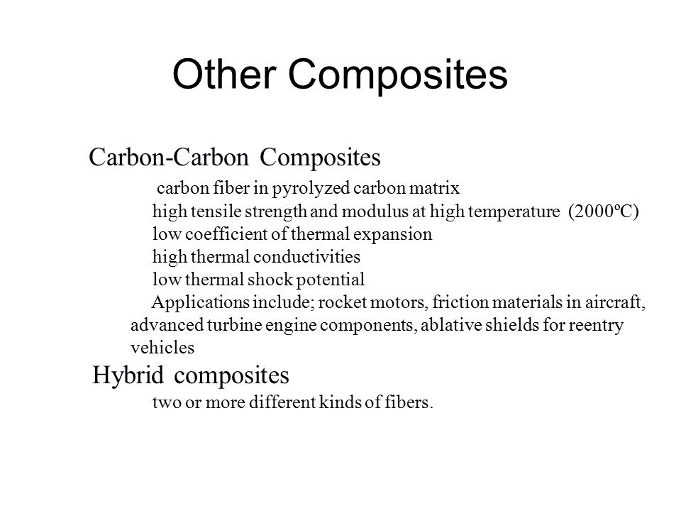 Other Composites Hybrid composites Carbon-Carbon Composites