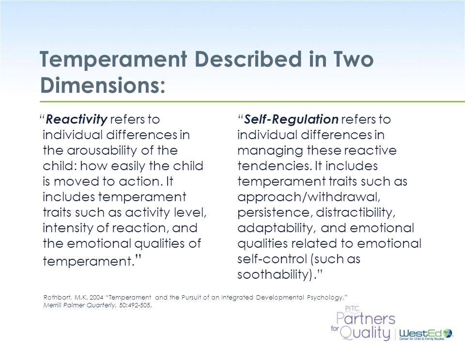 Temperament Described in Two Dimensions: