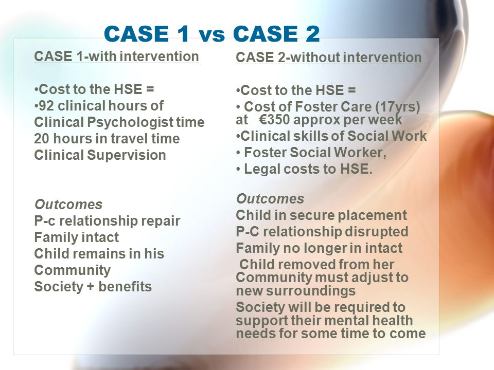 CASE 1 vs CASE 2 CASE 1-with intervention CASE 2-without intervention