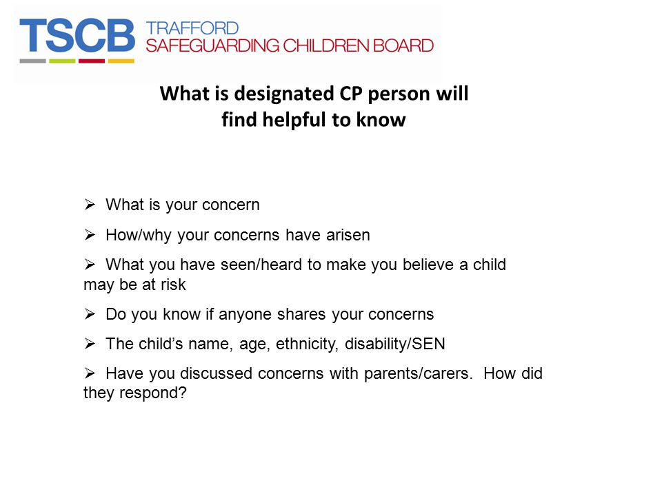 What is designated CP person will find helpful to know