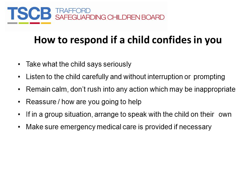 How to respond if a child confides in you