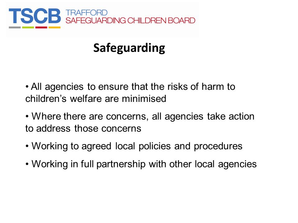 Safeguarding All agencies to ensure that the risks of harm to children's welfare are minimised.