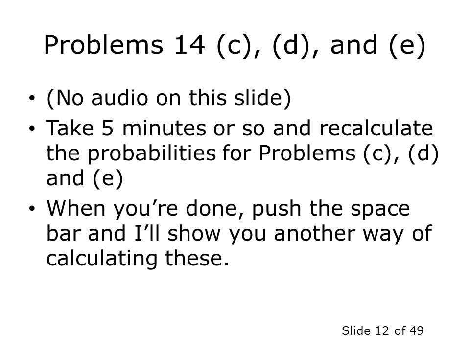 Problems 14 (c), (d), and (e)