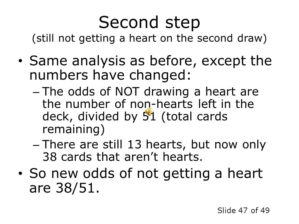 Second step (still not getting a heart on the second draw)