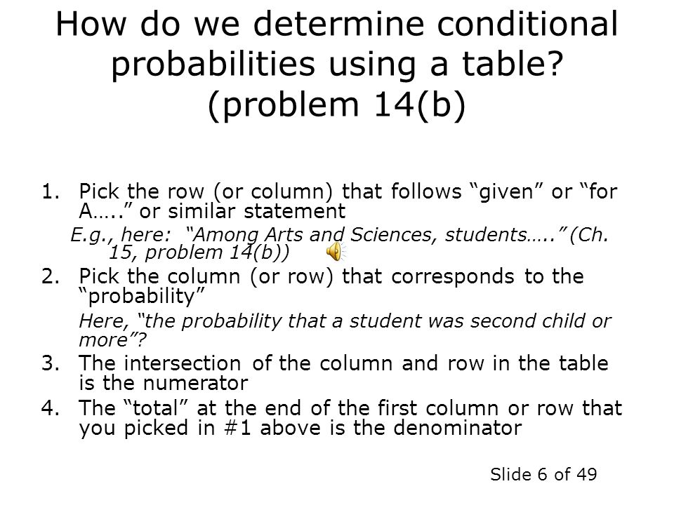 How do we determine conditional probabilities using a table