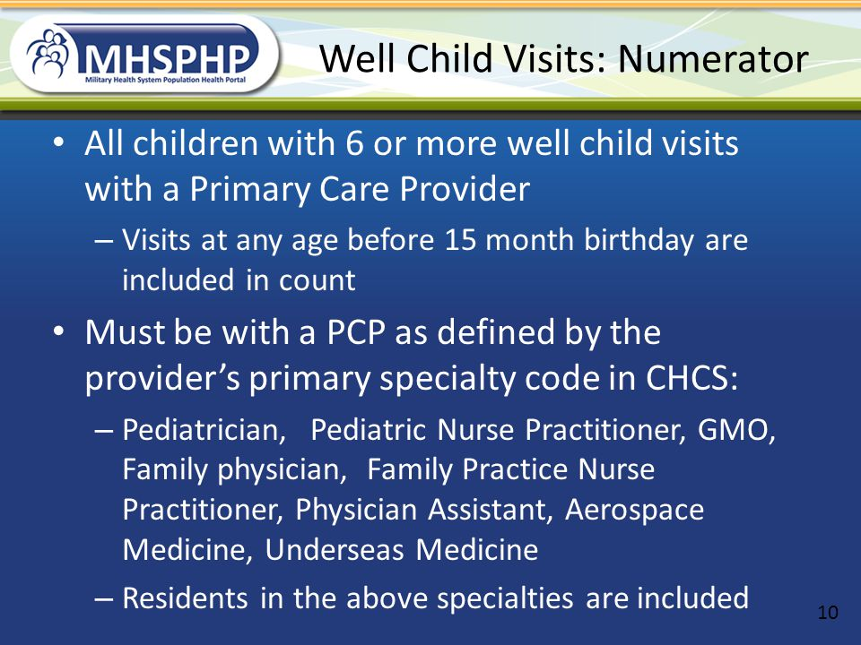 Well Child Visits: Numerator
