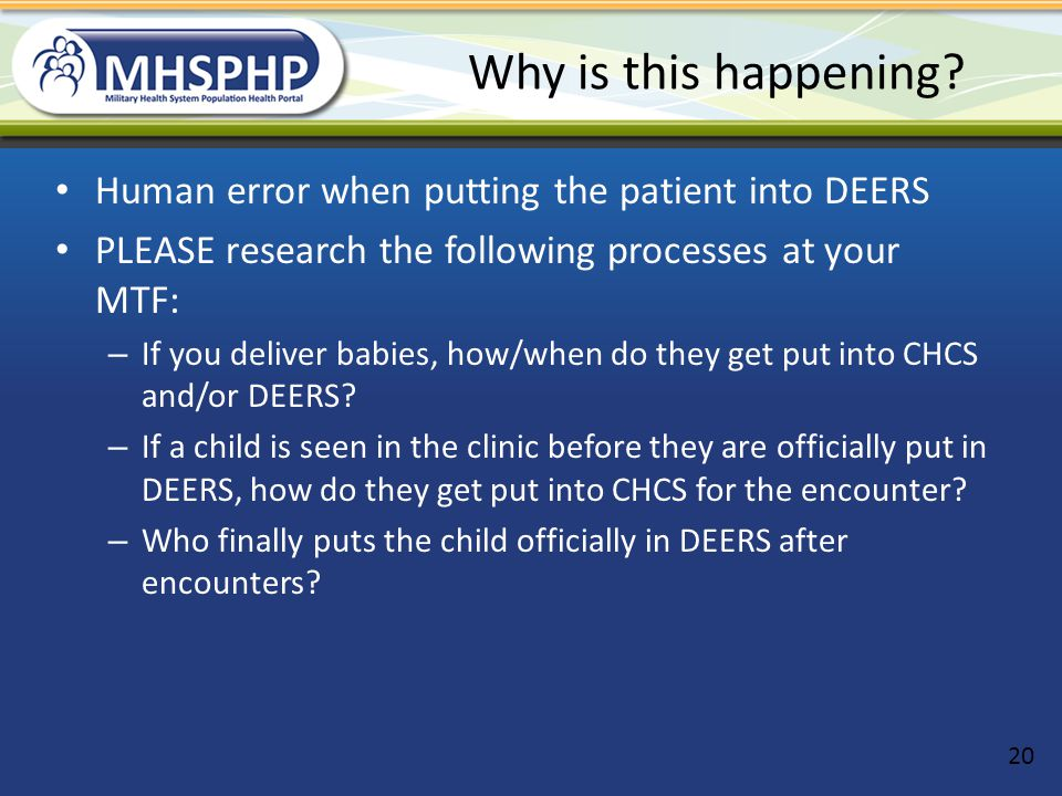 Why is this happening Human error when putting the patient into DEERS