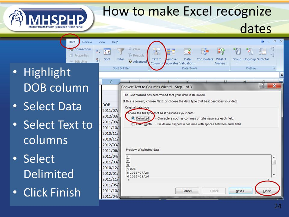 How to make Excel recognize dates