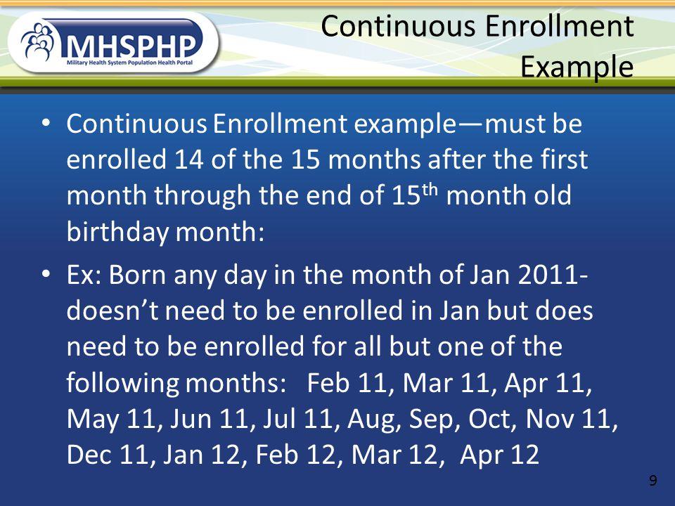 Continuous Enrollment Example