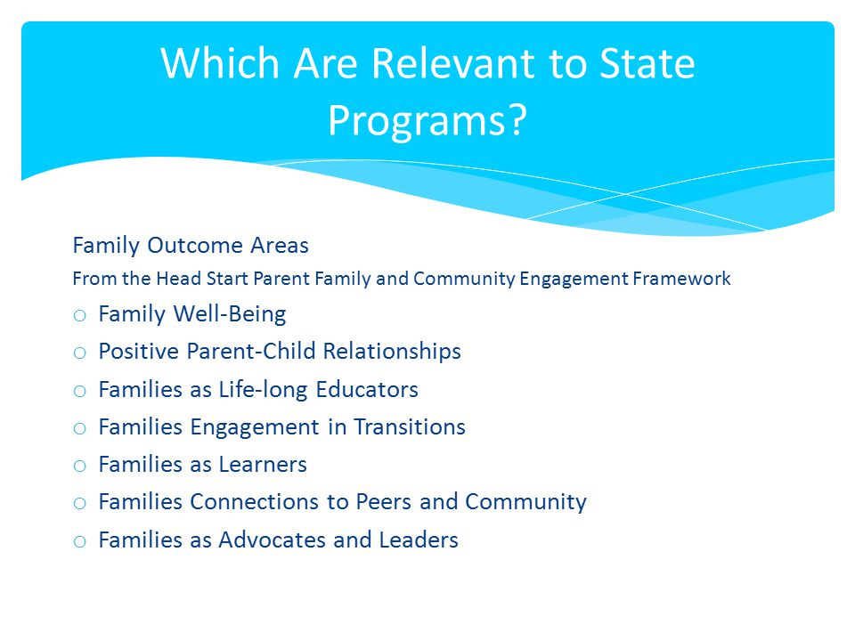Which Are Relevant to State Programs
