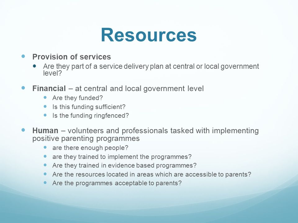 Resources Provision of services