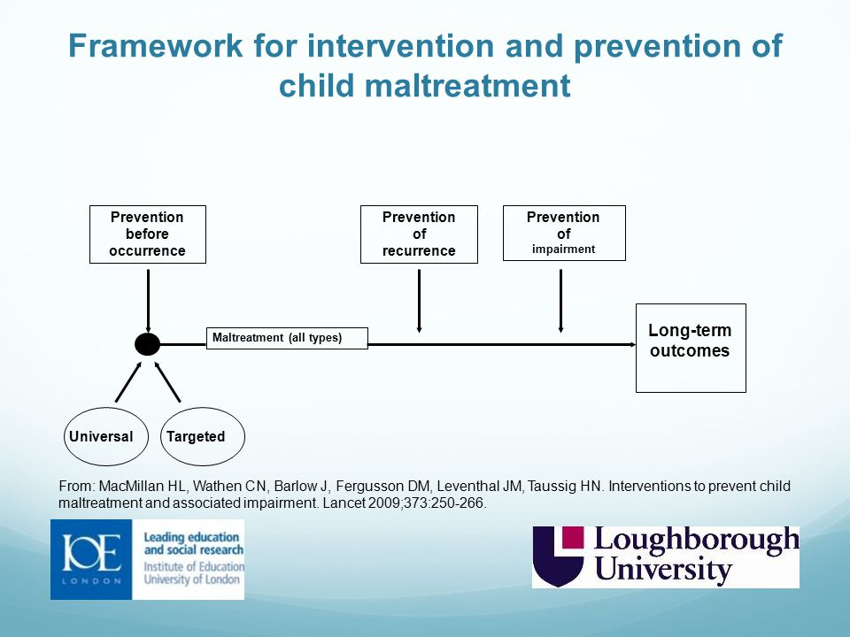 Framework for intervention and prevention of child maltreatment
