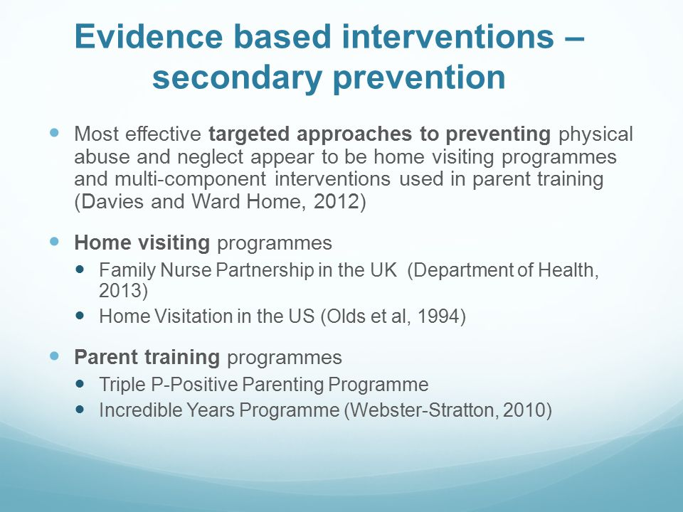 Evidence based interventions – secondary prevention