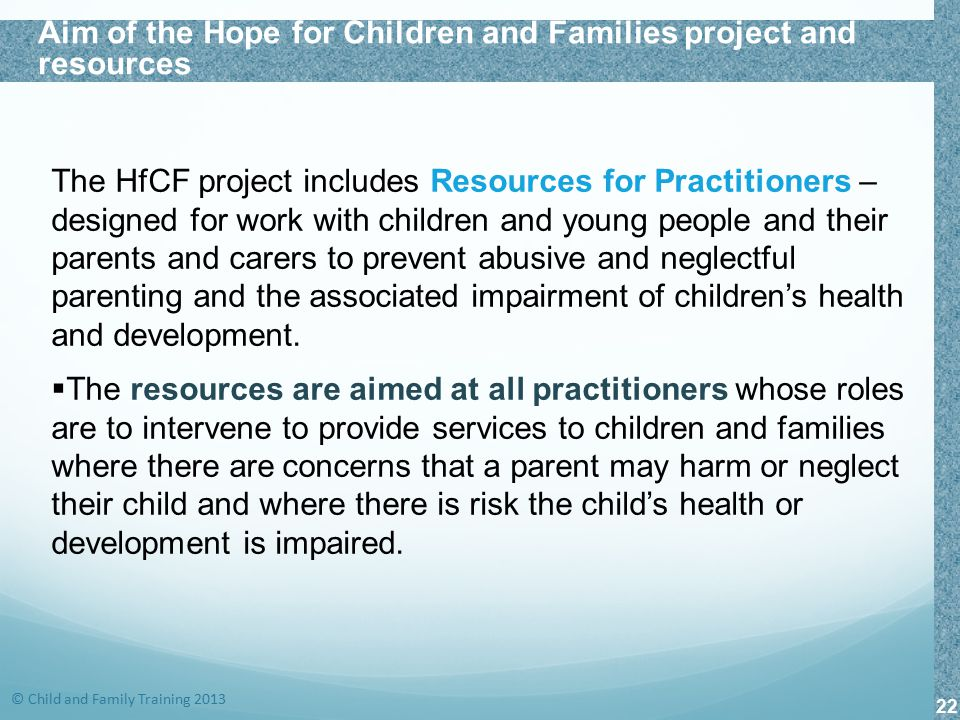 Aim of the Hope for Children and Families project and resources