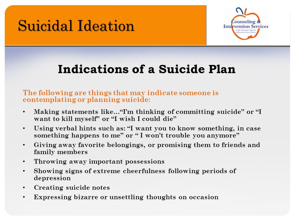 Suicidal Ideation Indications of a Suicide Plan
