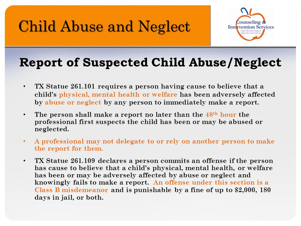 Report of Suspected Child Abuse/Neglect
