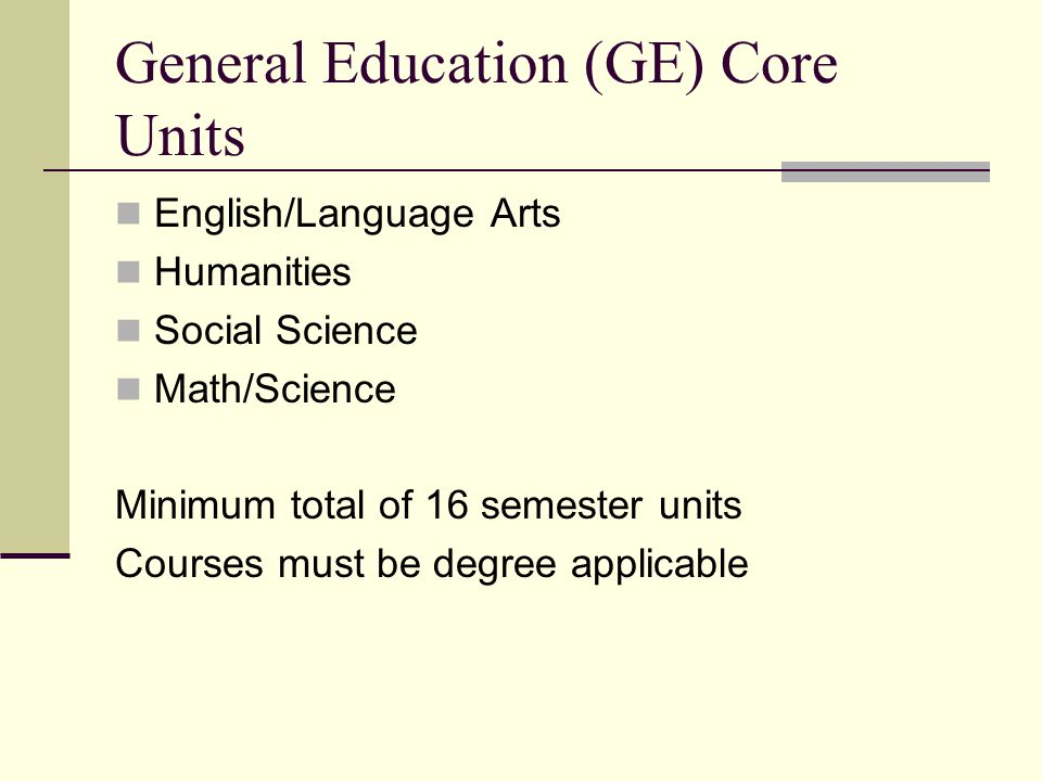 General Education (GE) Core Units
