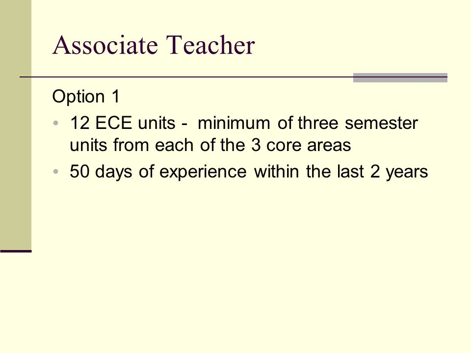 Associate Teacher Option 1