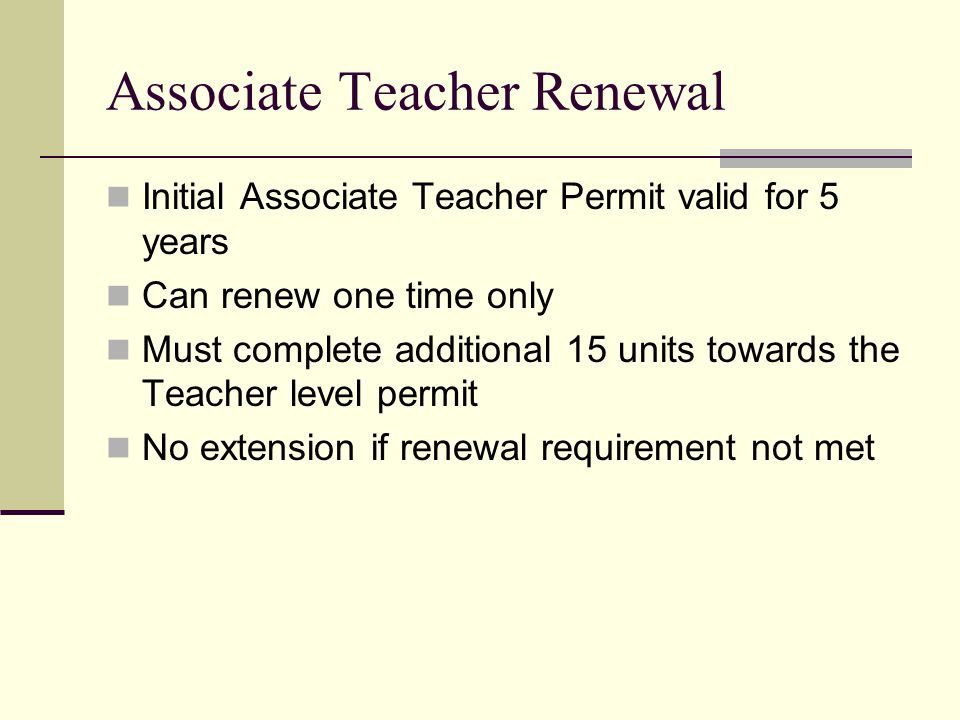 Associate Teacher Renewal