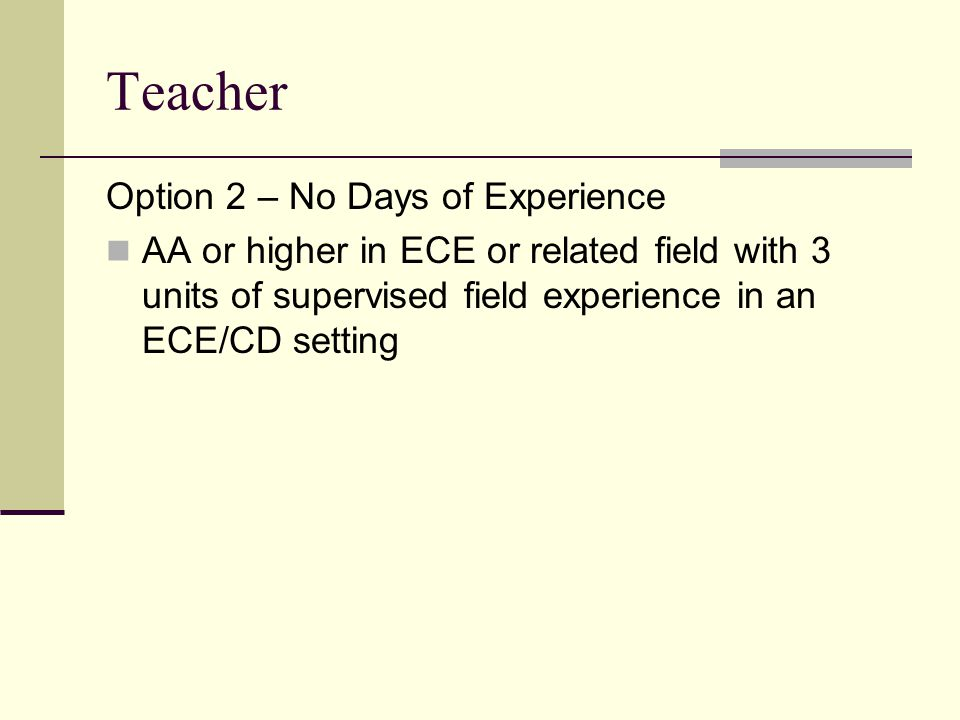 Teacher Option 2 – No Days of Experience