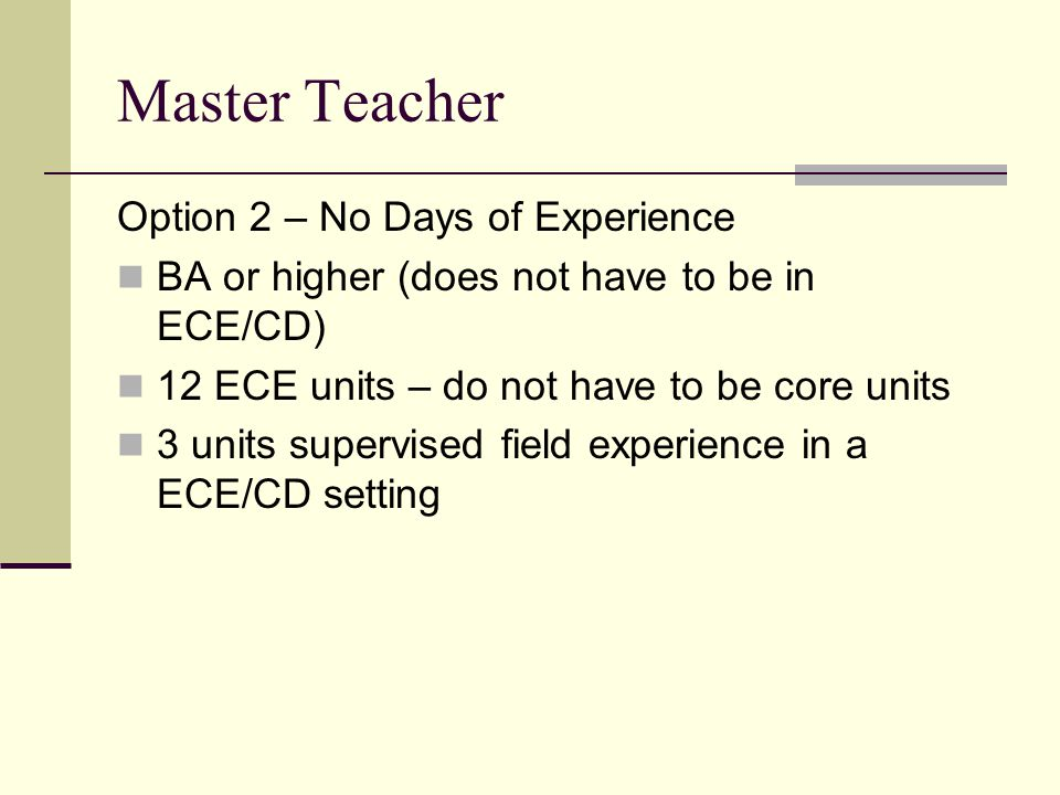 Master Teacher Option 2 – No Days of Experience