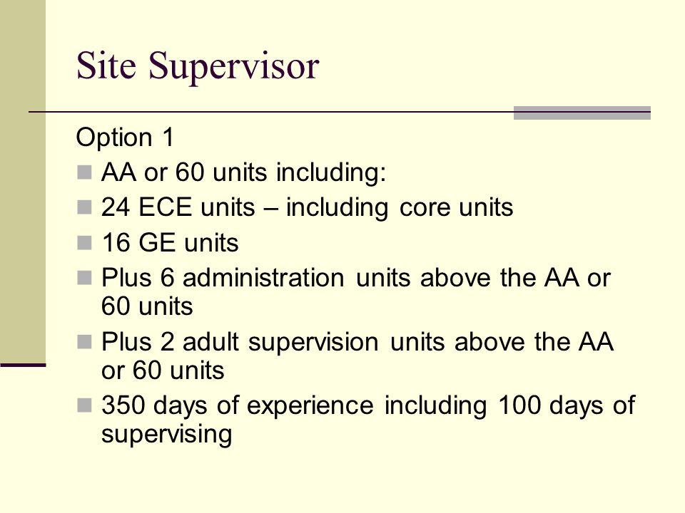 Site Supervisor Option 1 AA or 60 units including: