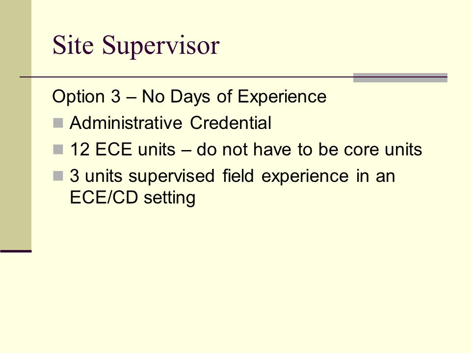 Site Supervisor Option 3 – No Days of Experience